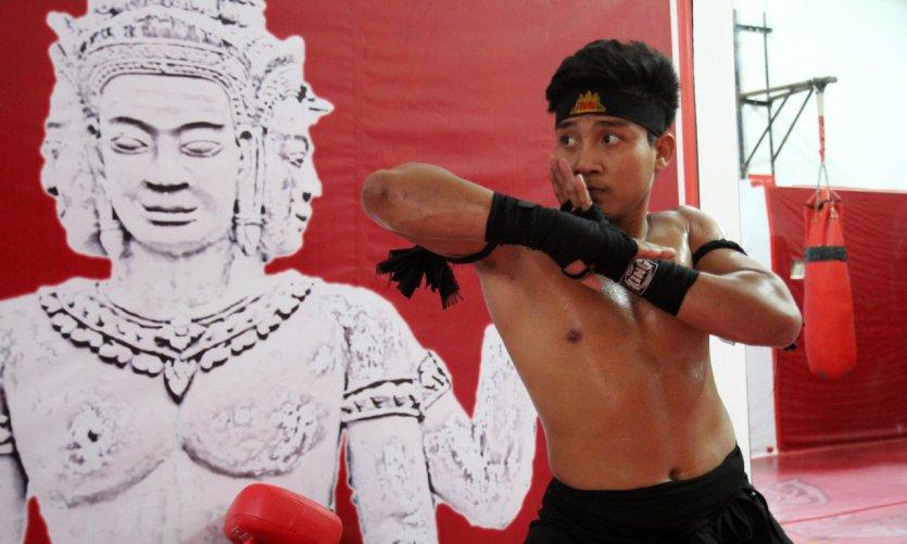 Boxe khmère, entraînement à Selapak.