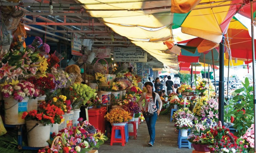 The central market in Phnom Penh (Phsar Thmey).