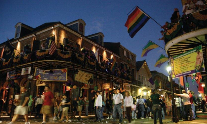 Bourbon Street by night.