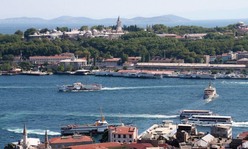 Vue de Sultanahmet et du palais de Topkapı depuis la tour de Galata.