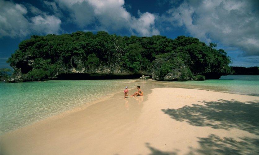 Sur la plage de l'îlot Maître.