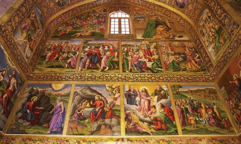 <p>Peintures murales de la salle de banquet du palais Chehel Sotoun, Ispahan.</p>