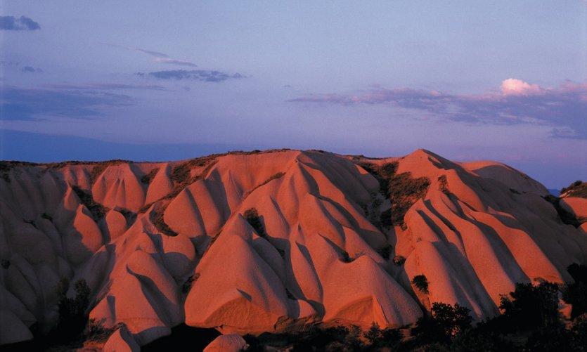 La vallée blanche au coucher de soleil.