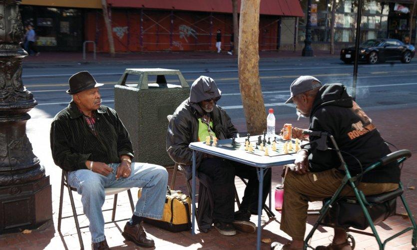 Joueurs d'échecs dans les rues de San Francisco.