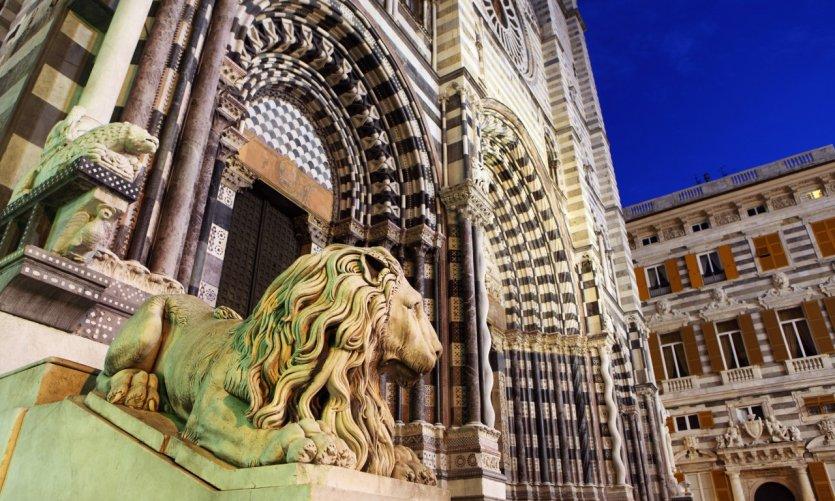 Détail de la cathédrale San Lorenzo de Gênes.