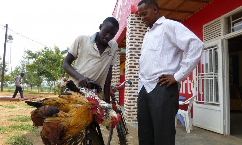 <p>Vendeur de poules près de Nyamata.</p>