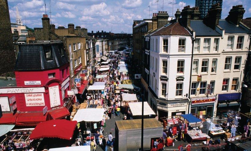 Petticoat Lane Market, quartier de Whitechapel.
