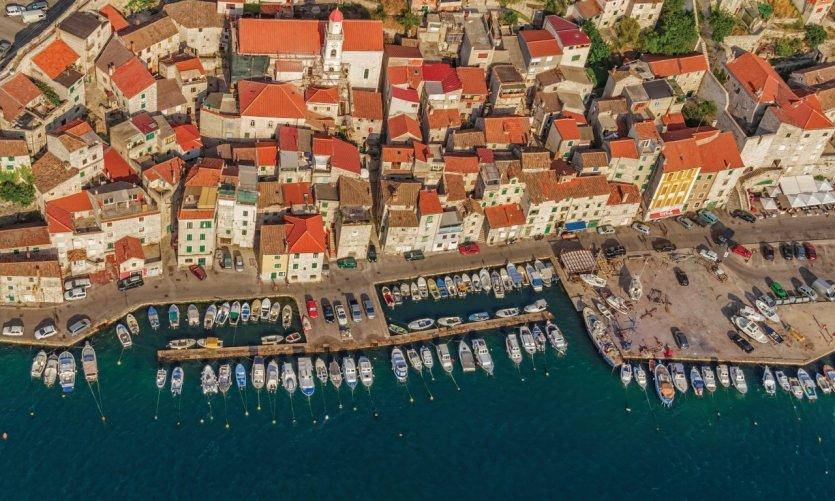 Vue aérienne de Sibenik.