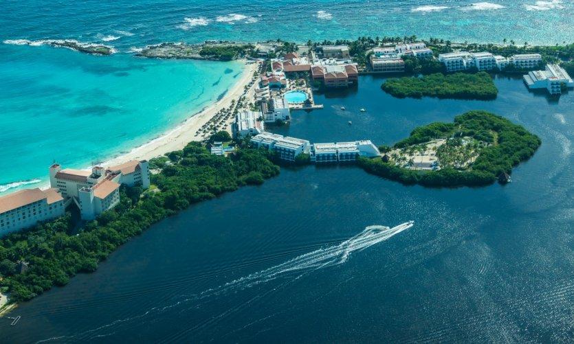 La zone hôtelière de Cancun.