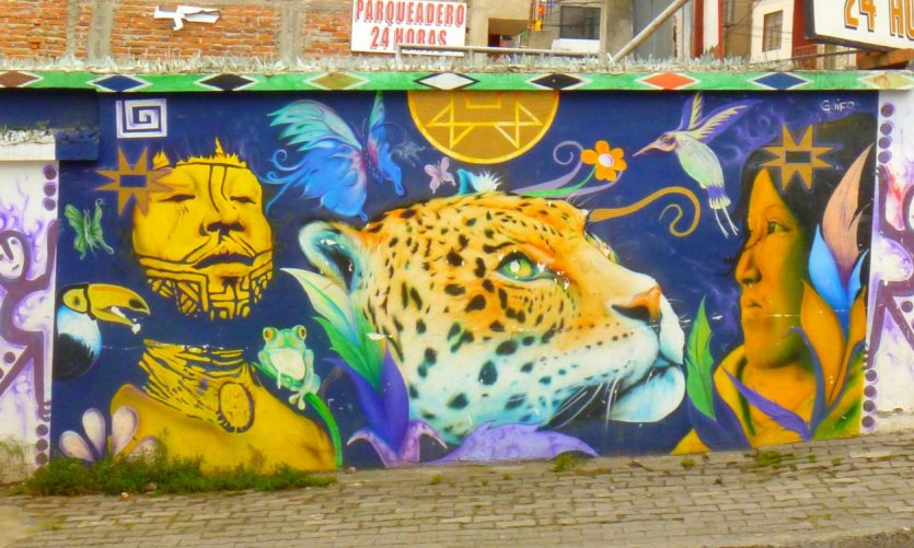 Graffiti évoquant l'Amazonie
