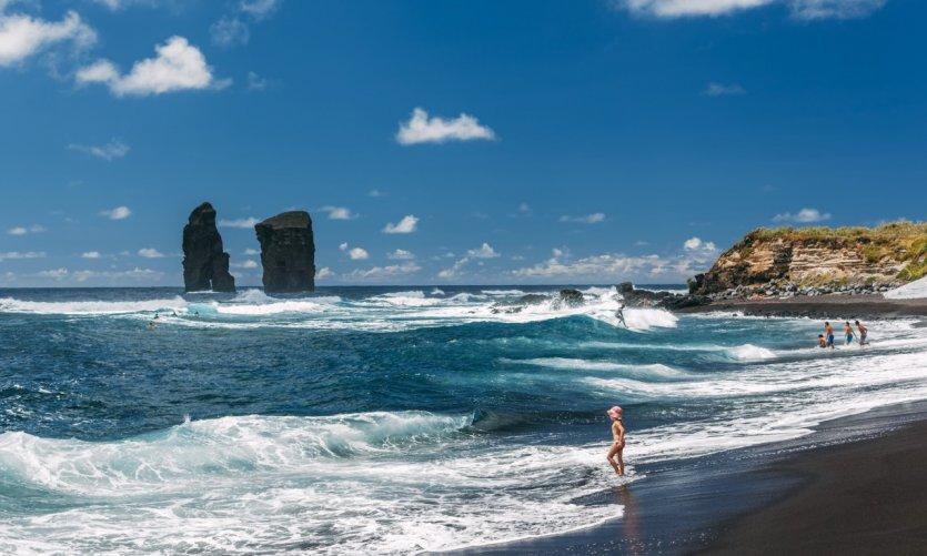 En la playa de Mosteiros.