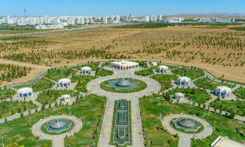 <p>View on the park and the city of Ashgabat.</p>