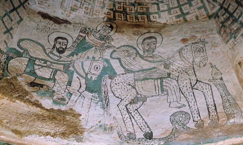 Fresque intérieure du monastère de Dabra Tsion.