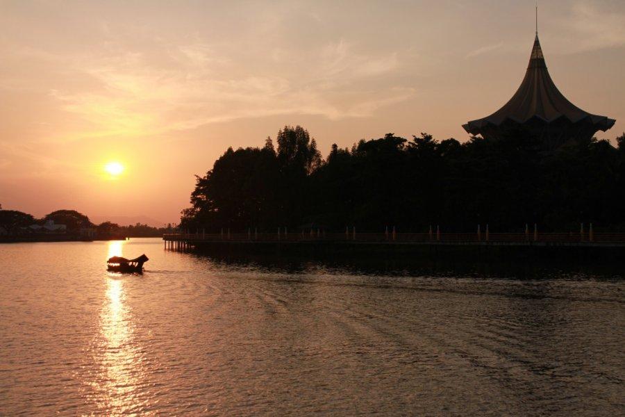 Coucher de soleil à Kuching. (© Barthélémy COURMONT))