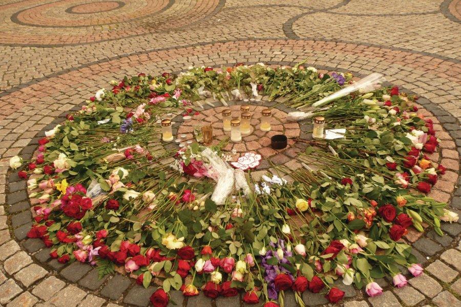 En mémoire des victimes de l'attentat et de la fusillade du 22 juillet 2011 à Oslo. (© Stéphan SZEREMETA))