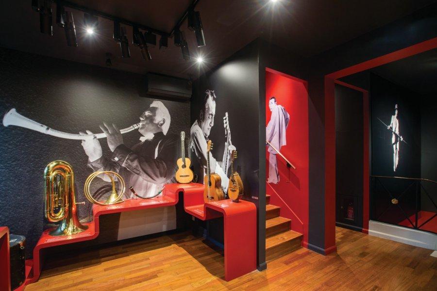 Musicien atypique, Raymond Devos jouait sur scène de 17 instruments présentés dans cette salle. (© MAISON-MUSÉE RAYMOND DEVOS))