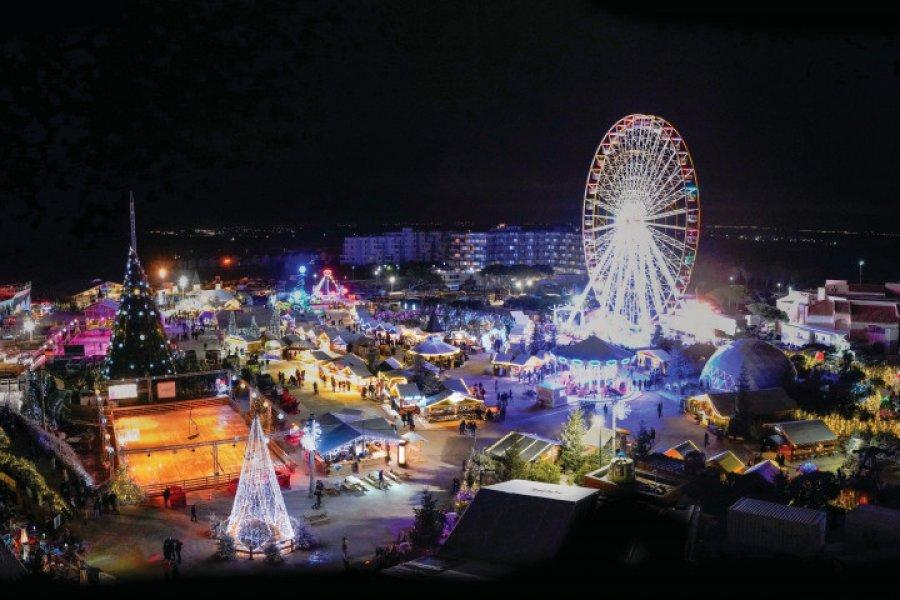 Vue aérienne du Village de Noël. (© Ville du Barcarès))