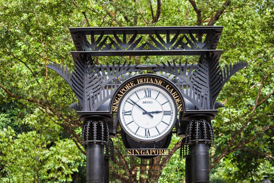 L'horloge marque l'entrée du pavillon des orchidées du Botanic Garden. (© Saiko3p - Shutterstock.com))