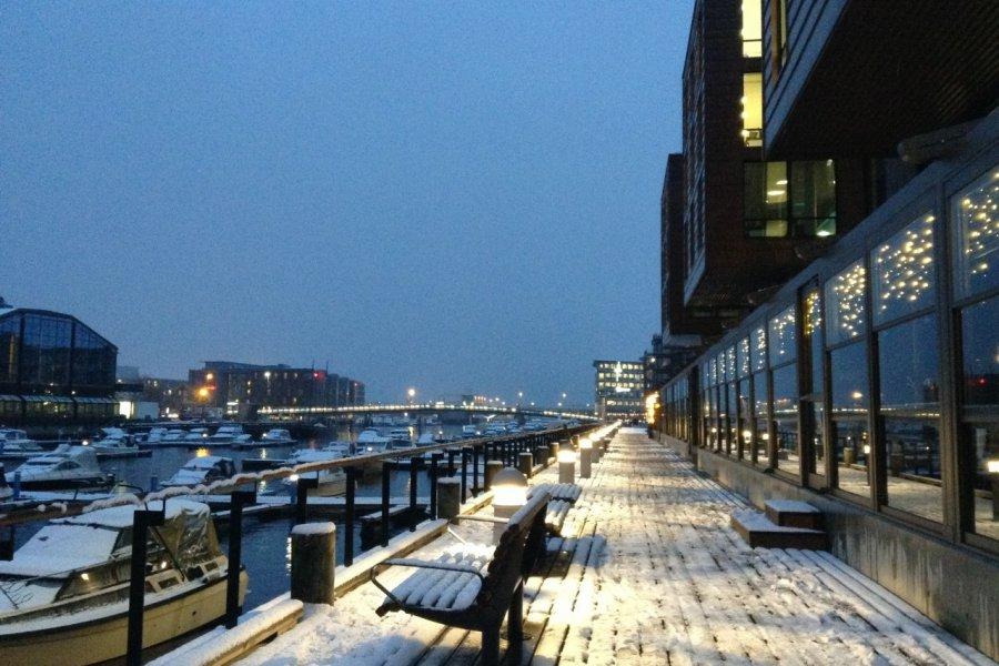 La ville de Trondheim enneigée. (© Camille RENEVOT))