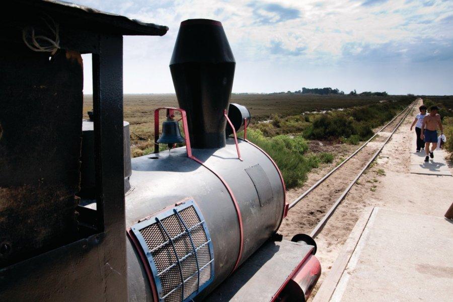 Ce petit train permet de rejoindre la Praia do Tamboril sur l'Ilha de Tavira. (© Maxence Gorréguès))