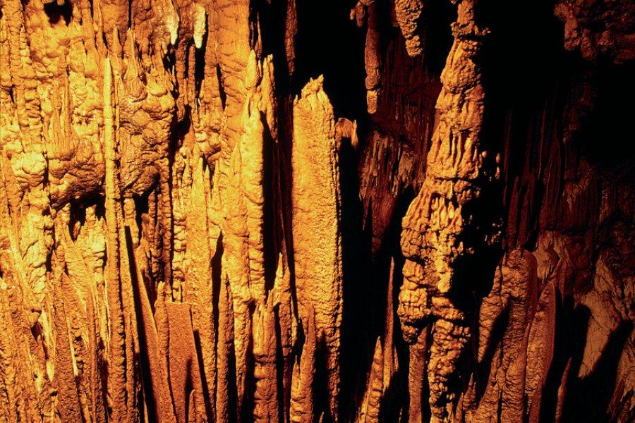 Grottes de Škocjan, stalagtites illuminées. (© Stéphane Maréchal - Iconotec))