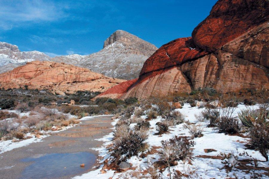 La neige s'invite dans le désert Mojave et son Red Rock Canyon. (© Stéphan SZEREMETA))