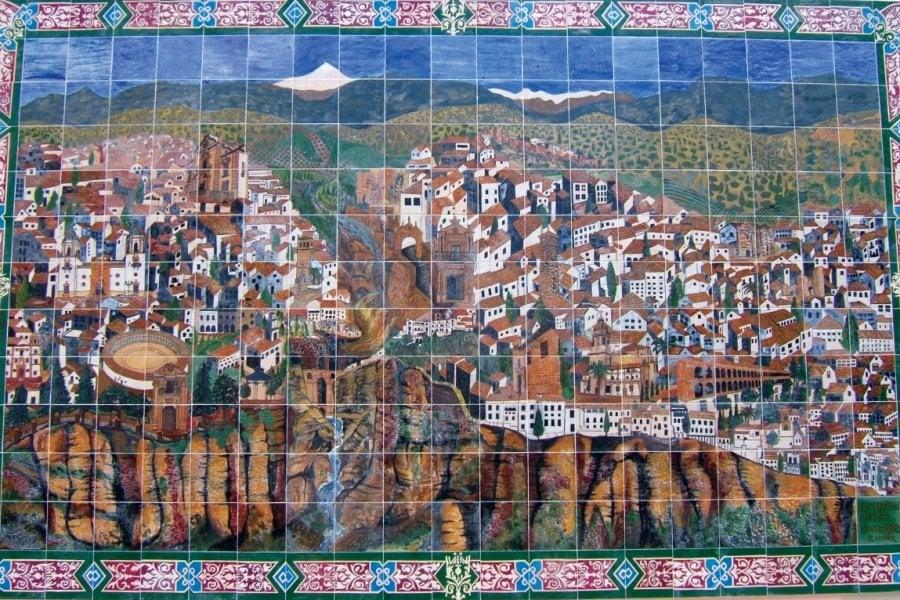 Fresque en faïence représentant la ville de Ronda. (© Stéphan SZEREMETA))