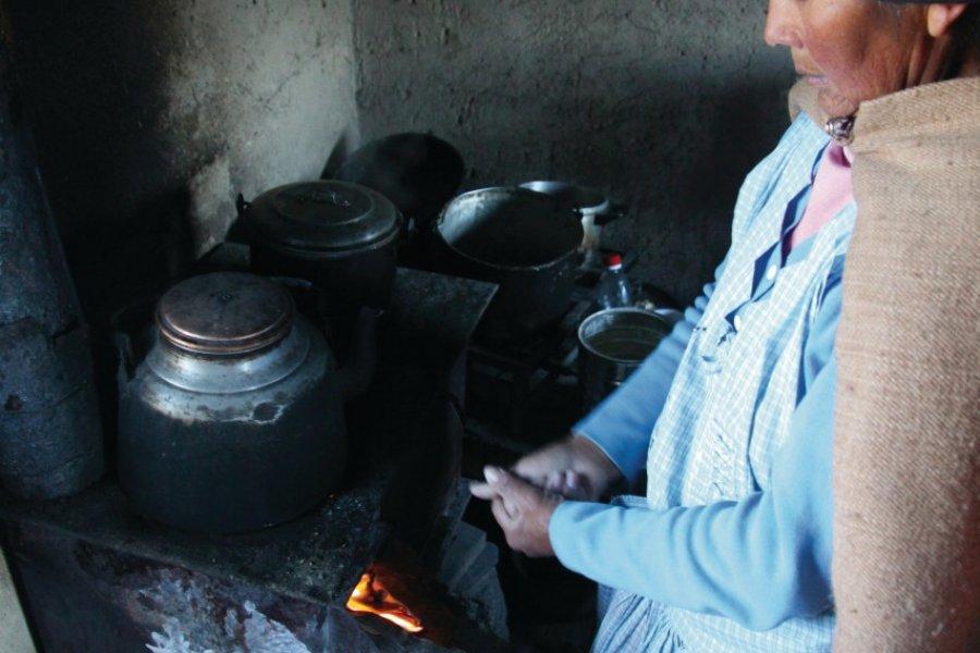 On prépare du charque, viande séchée de lama, à Sajama. (© Arnaud BONNEFOY))