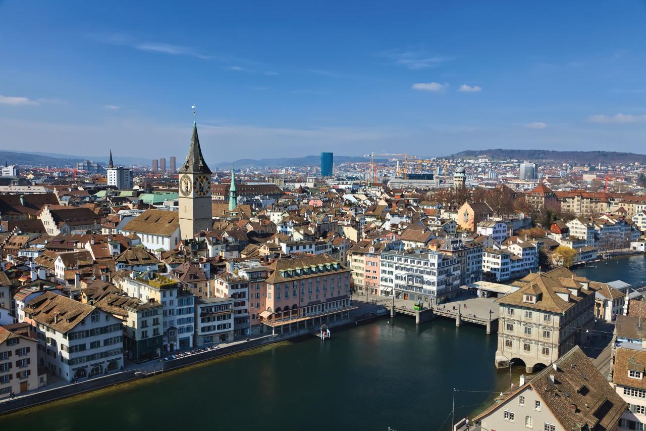 Vista aérea de la ciudad de Zuririch.