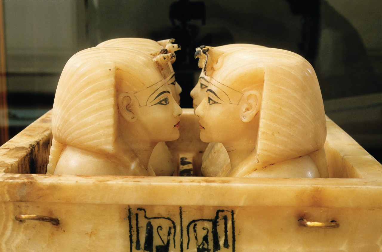 Tutankhamun's treasure at Cairo Egyptian Museum: the canopes vessels.