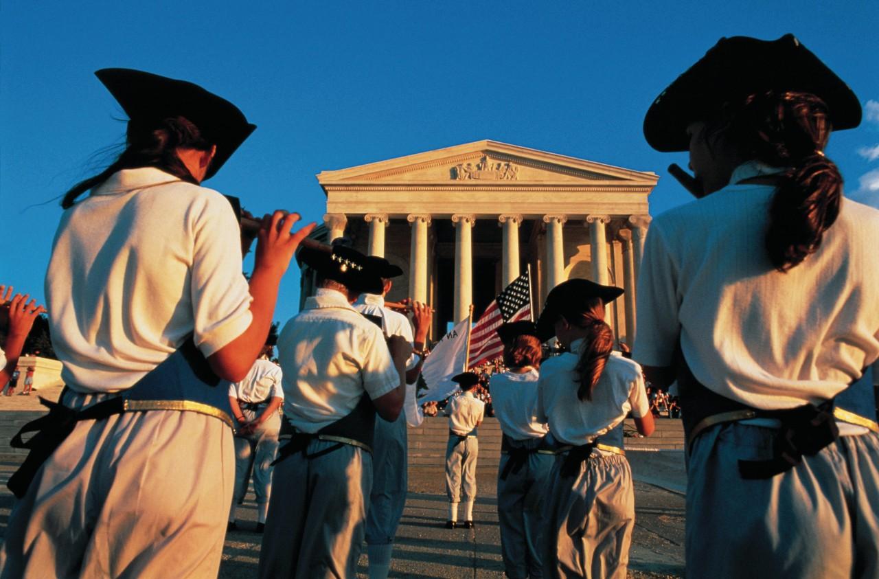 Commémoration devant le Jefferson Memorial.