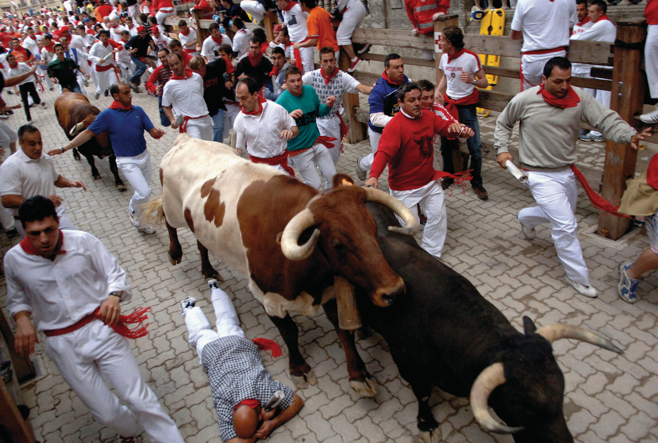 Encierro at the Sanfermines of Pamplona.