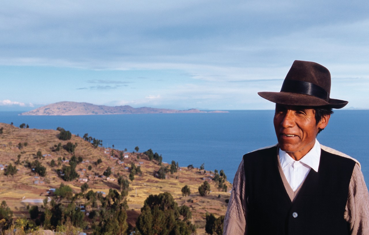 Peru on the heights of Llachon on the shores of Lake Titicaca.