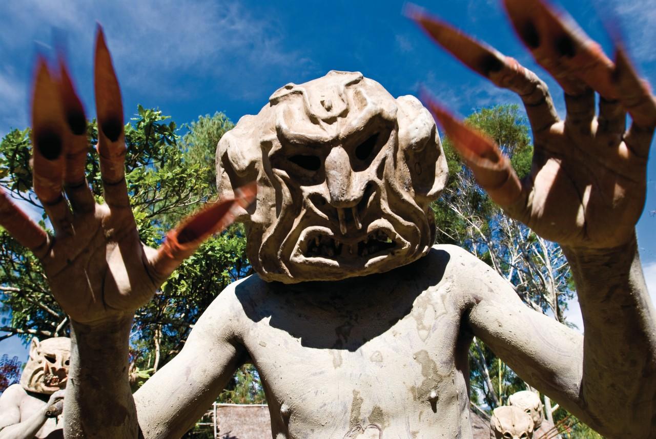 Bailarín del valle de Asaro, cerca de Goroka. Los famosos Mud Men.