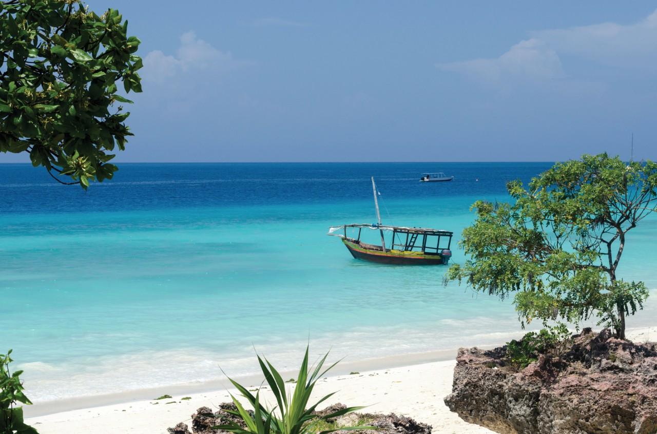 Fishing boat in the turquoise waters of Zanzibar.
