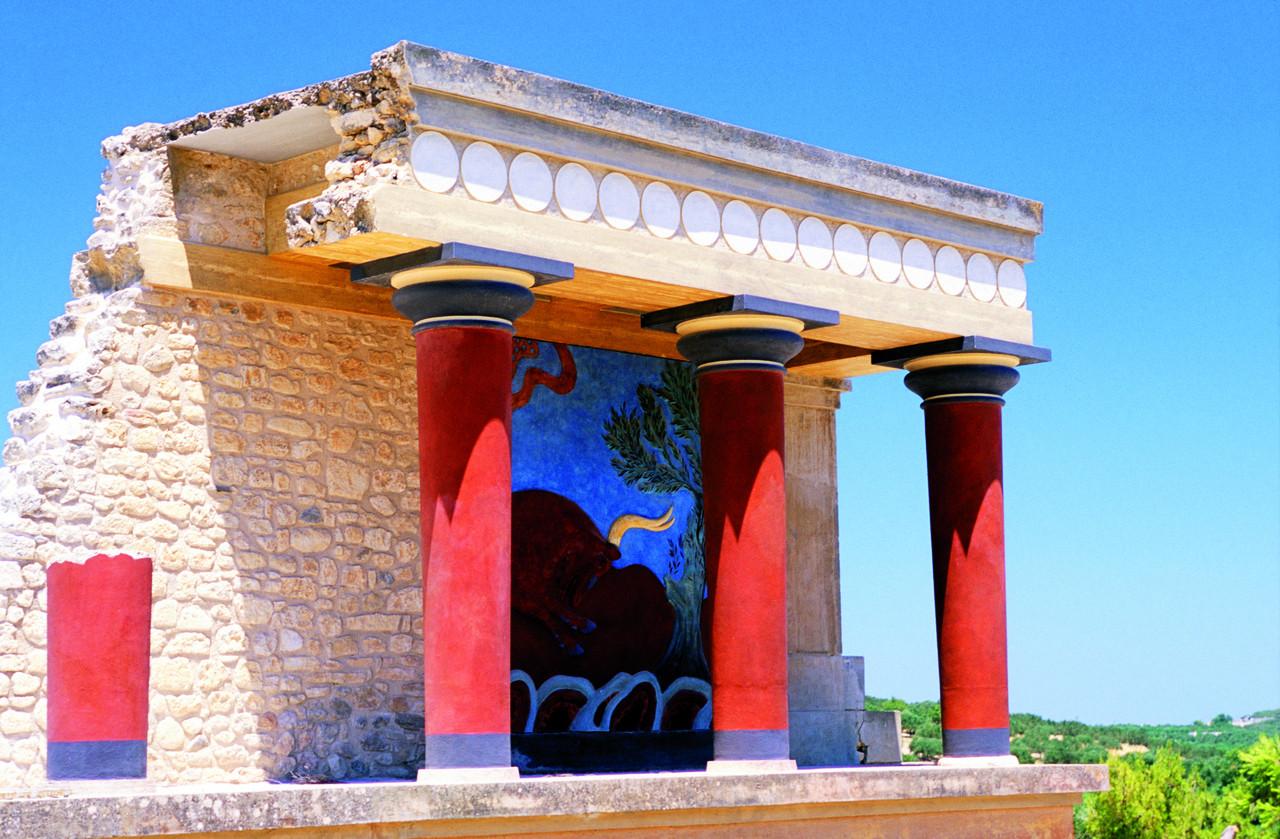 Murque del Taurokathapsie en el sitio minoen de Cnossos.