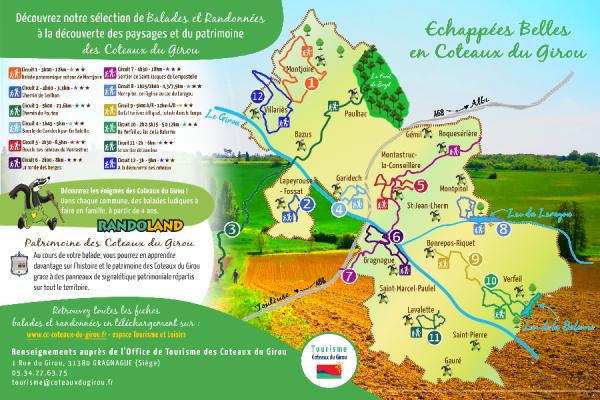 Carte chemins de randonnées et balades ludiques en Coteaux du Girou entre Toulouse et Albi - ©Tourisme Coteaux du Girou